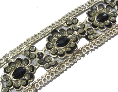 4.5 Y Artificial Leather Sequin Black Stone Trim Ribbon