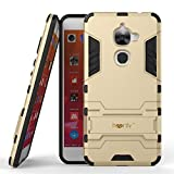 Heartly Graphic Designed Kick Stand Hard Dual Rugged Armor Hybrid Bumper Back Case Cover For LeEco Le 2 - Mobile Gold
