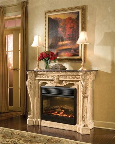 New Ambella Home Electric Fireplace Black Stone Floral AH-48 picture B008PS6NYG.jpg