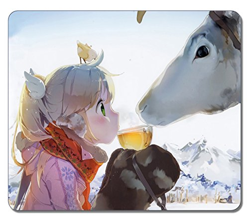 VUTTOO - High Quality Girl Sharing A Tea With A Reindeer 40742 Mousepad Large Durable Mouse pad Non-Slippery Rubber Gaming Mouse Pads