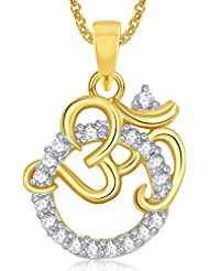 Om God Pendant With Chain Lockets For Men And Women Gold Plated In American Diamond GP320