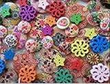 かわいい ウッド ボタン 50 個 セット 飾り 釦 手作り ハンド メイド 材料 (カラフル)