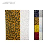 Astak Fashionable Animal (Leopard) Print Folding 360 Degree Rotating Folding Folio Ipad Case Cover Stand, Synthetic Leather with Dual Layer Hard Plastic. Colorful Color Combinations: Pink, Yellow, White, Brown and Grey for Apple Ipad 2/3/4 (Brown and White)