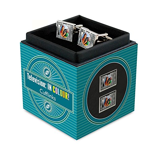 RetroCo BBC Test Card Television : IN COLOUR! Cufflinks Gift Set