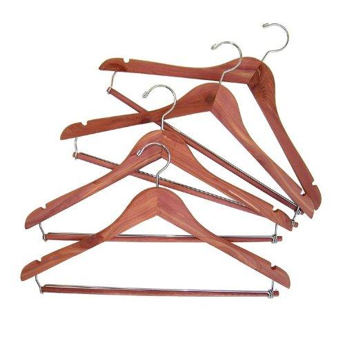 CedarFresh Cedar Hanger with Locking Trouser Bar, Set of 4 (Suit Hanger With Locking Bar compare prices)