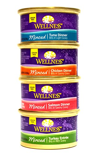 Wellness Minced Grain-Free Wet Cat Food Variety Pack - 4 Flavors (Salmon, Tuna, Turkey, and Chicken) - 12 (3 Ounce) Cans - 3 of Each Flavor (Wellness Canned Cat Food Salmon compare prices)