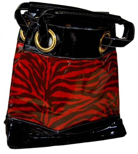 Large Black Red Vicky Zebra Print Faux Leather Satchel Bag Hand Shoulder Bag Animal Purse Tote