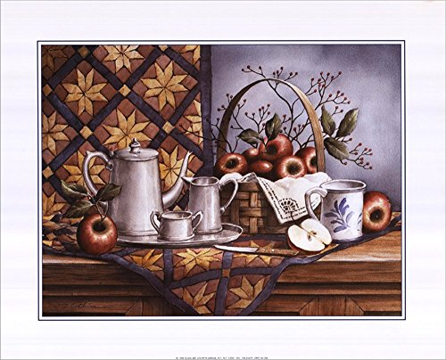 Pewter Tea Set with Apples by T.C. Chiu Double Sided Laminate, 20 x 16 inches (Pewter Tea Service compare prices)