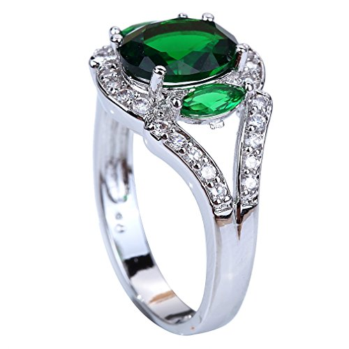 YAZILIND Bright Luxury Green Topaz Emerald Silver Plated Wedding Ring For Women Size9 (Yazilind Rings compare prices)