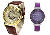 Glory Combo Of Two Skeleton Analog Watch Glory Purple Analog Watch for men and women