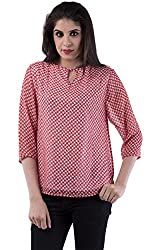 AARR Pink Ethinic Printed 3/4 Sleeves Round Neck Polycotton Top
