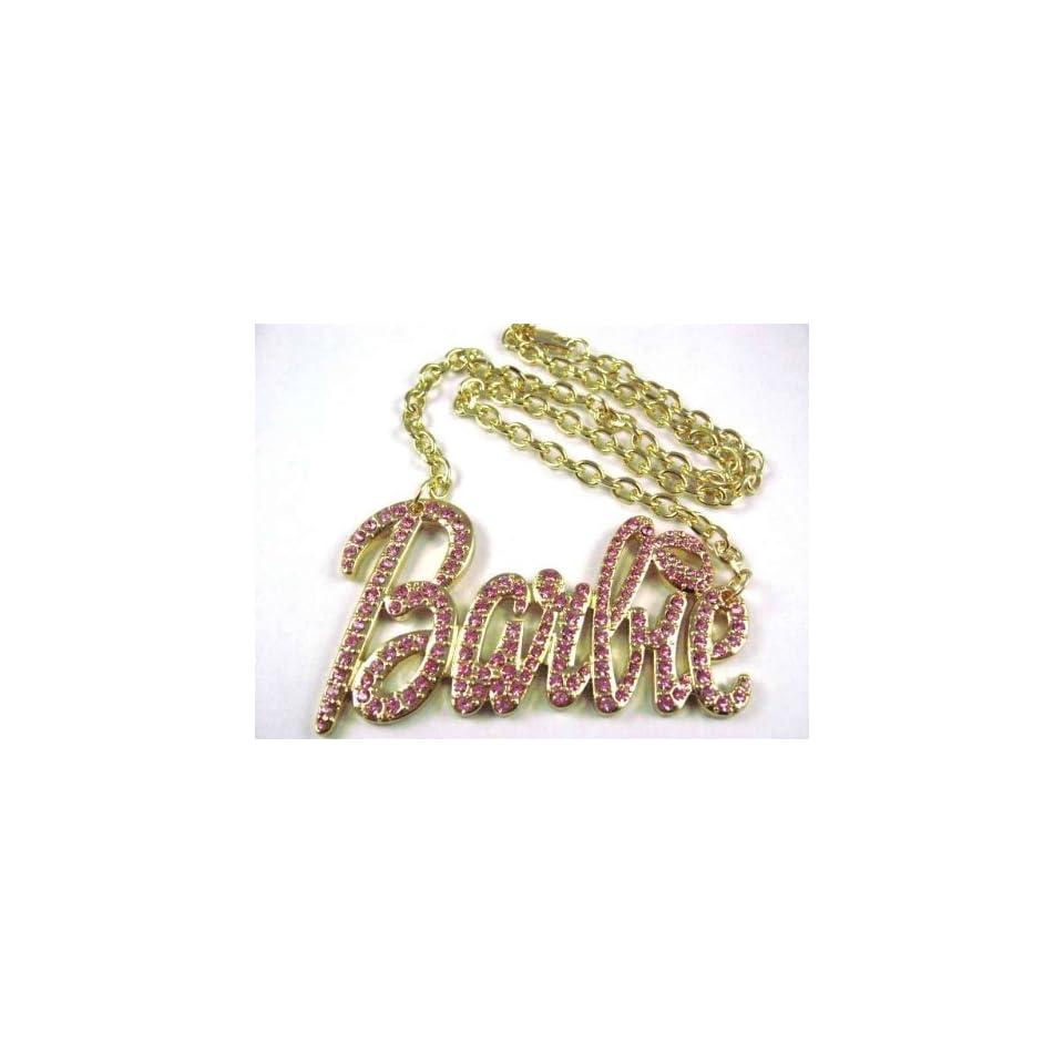 NEW NICKI MINAJ BARBIE Pendant w/18 Chain Gold Lg Pink
