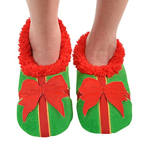 Snoozies Womens Ugly Christmas Collection Holiday Slipper Socks - Bow Ho Ho, Large (Ho Split compare prices)