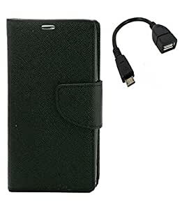 YGS Premium Diary Wallet Case Cover For Samsung Galaxy Grand Prime-Black With Micro OTG