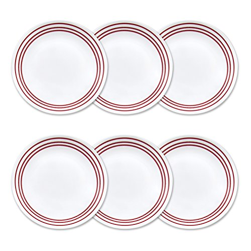 Corelle Livingware 6-Piece Ruby Red Lunch Plate Set, 8.5-Inch, White (Ruby Red Corelle compare prices)