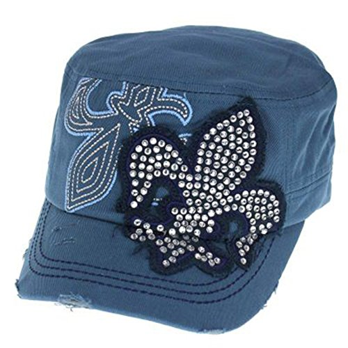 Rockstar Rhinestone Fleur De Lis Cap Hat (Blue)
