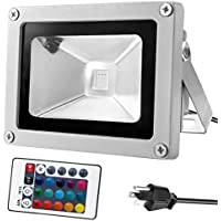 Warmoon 10W Waterproof LED Flood Light with US 3-Plug and Remote