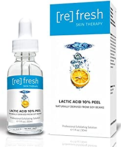 Lactic Acid 10% Gel Peel Exfoliant Anti-Aging Serum - Naturally Derived From Soy (Professional Chemical Peel Kit) Facelift in a Bottle Plumps Fine Lines and Wrinkles from Refresh Skin Therapy