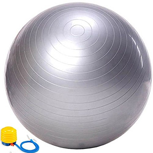 Evaline Stability Anti-burst Slip Resistant Exercise Balance Fitness Swiss PVC Yoga Ball with Foot Pump Silver 75cm