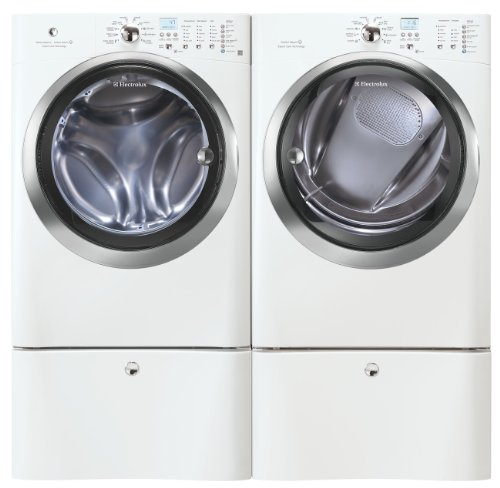Electrolux IQ Touch White Steam Front Load Washer and Steam ELECTRIC Dryer Laundry Set W/ Pedestals EIFLS60JIW_EIMED60JIW_EPWD15IW