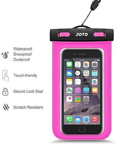 JOTO Universal Waterproof Case for Apple iPhone 6S, 6, 6S Plus, 5S, 5, Samsung Galaxy S6, Note 5, 4, HTC, LG, Sony, Nokia Lumia, MOTO, Nexus (Magenta)