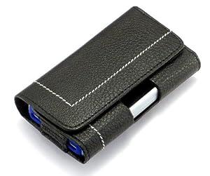 """""""Perfecto"""" Negro, Lujoso estuche billetera de sintética cuero con cinturón con clip para Philips D908. Auténtica Funda / Carcasa / Cubierta para teléfonos móviles."""