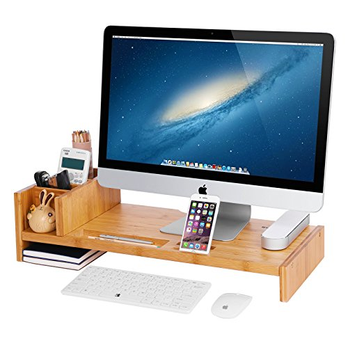 SONGMICS Bamboo Monitor Stand Riser with Adjustable Storage Organizer Laptop Stand Desk Organizer for Home Study Dorm Office ULLD215N