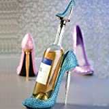 Polystone Rhinestone High Heel Wine Bottle Holder
