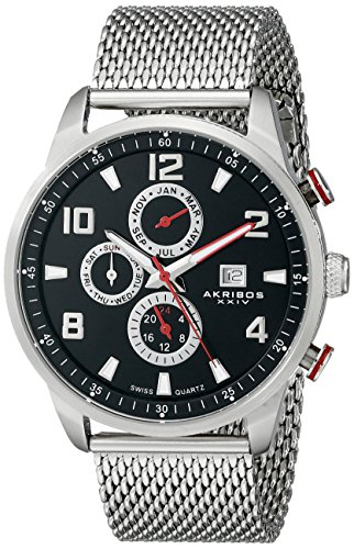 akribos-xxiv-mens-quartz-watch-with-black-dial-analogue-display-and-silver-stainless-steel-bracelet-