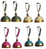 Dsignstudio pack of 4 elegant hanging jhumkas H6