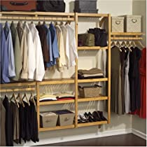 Hot Sale John Louis Home JLH-522 Standard 12-Inch Depth Closet Shelving System, Honey Maple