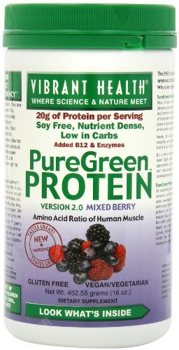 Vibrant Health Puregreen Protein, Mixed Berry, 16-Ounces