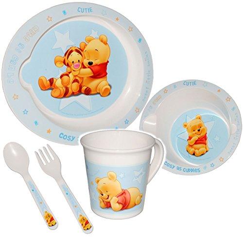 """alles-meine.de GmbH 5 tlg. Geschirrset - """" Disney Winnie the Pooh - blau """" - Trinktasse + hoher Teller + Müslischale + Löffel + Gabel - Kindergeschirr Frühstücksset - Kunststoff - für Mädchen Jungen / Eßlerngeschirr - Eßlernbesteck - Puuh Ferkel - Babygeschirr - Eßlernset Plastik - Kunststoffgeschirr - Geschirr Set - Camping"""