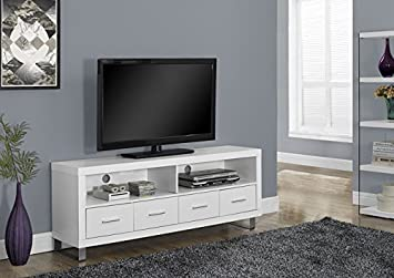 "WHITE HOLLOW-CORE 60""L TV CONSOLE WITH 4 DRAWERS (SIZE: 60L X 16W X 24H)"