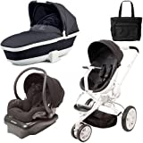 Quinny CV078BIK Moodd Stroller Travel System and Dreami Bassinet in Black Irony with Diaper Bag