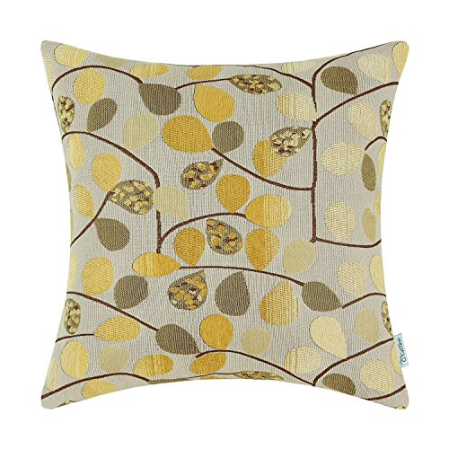 """Euphoria Home Decor Cushion Cover Throw Pillow Case Shell Luxury Chenille Cute Leaves Ecru Gold Color 18"""" X 18"""" Reversible"""