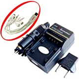 iTEKIRO AC Wall DC Car Battery Charger Kit for Hitachi DZ-GX5300 DZ-HD90 DZ-HS300 DZ-HS300A DZ-HS300E + 10-in-1 USB Charging Cable