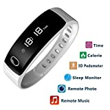 Smart band - Step Tracker - Pedometer Smart Bracelet Fitness Activity Tracker Sleep Monitor - Calories Track Sweatproof Bluetooth Health Fitness Band for iPhone & Android phones White