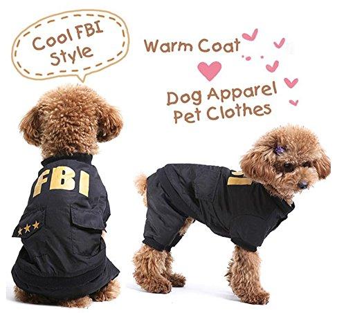 【 サイズ 選択可 】 犬 猫 用 服 FBI 捜査官 コスプレ 衣装 ポリス 警察 犬 服 (4.XL)