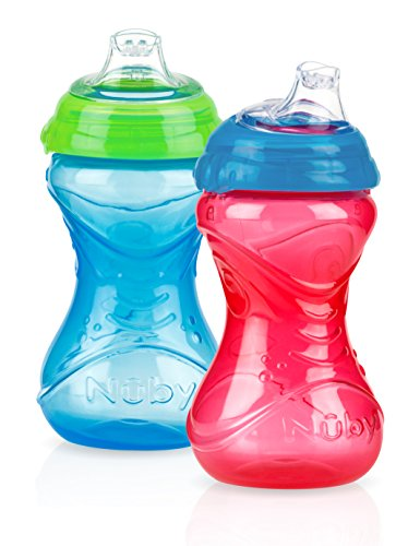 Nuby Soft Spout No-Spill Clik-It Cup, 6 Months plus 2 Count (Colors May Vary), 10 oz