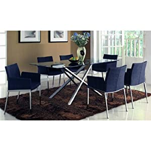 Adelphi Clear Glass Dining Table 6 Fabric Chairs Kitchen Am