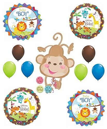 Welcome baby boy jungle animal baby shower balloon for Balloon decoration kits
