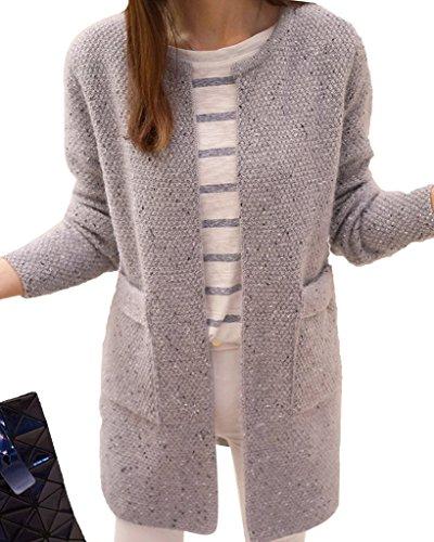 Minetom Donna Knit Cardigan Maniche Lunghe Jumper Outwear Maglia Jacket Sweatshirt Tops con Tasca Grigio IT 38