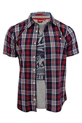 Camicia Da Uomo & T-Shirt Combinati by D555 'Frankie (Frankie - Rosso / Blu) M