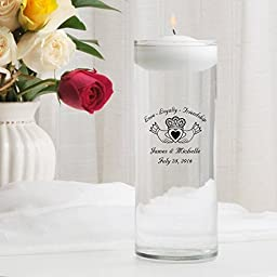 Personalized Floating Wedding Unity Candle- Claddagh