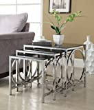 Set of 3 Chrome Glass Nesting Side End Table