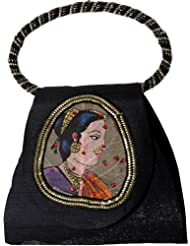 Exotic India Bracelet Bag With Beadwork And Painted Lady Figure On Fig Leaf