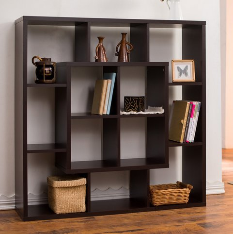 Furniture of America Aydan Contemporary Modern Square Walnut Living Room Display Shelf Bookcase Room Divider (Wall Units Furniture Living Room compare prices)