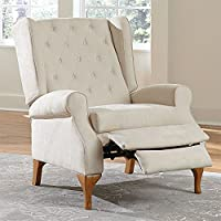 Brylane Home Queen Anne Style Tufted Wingback Recliner (Multiple Colors)