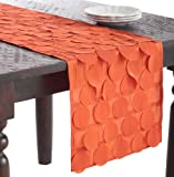 SARO LIFESTYLE 820 1-Piece La Molina Runners Oblong Tablecloth, 16 by 72-Inch, Tangerine